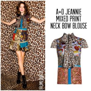 Alice + Olivia Jeannie Mixed Print Neck Bow Blouse